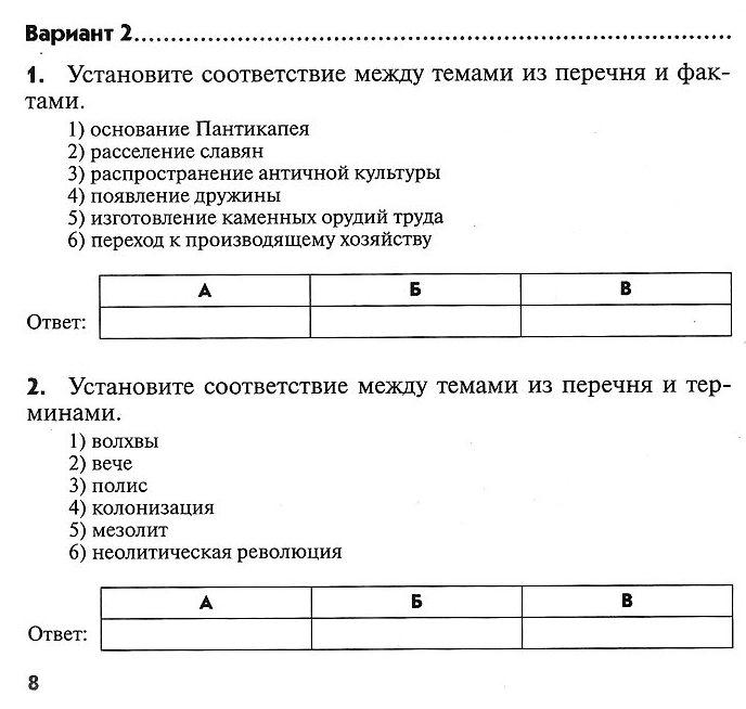 История России. Контрольная работа № 1