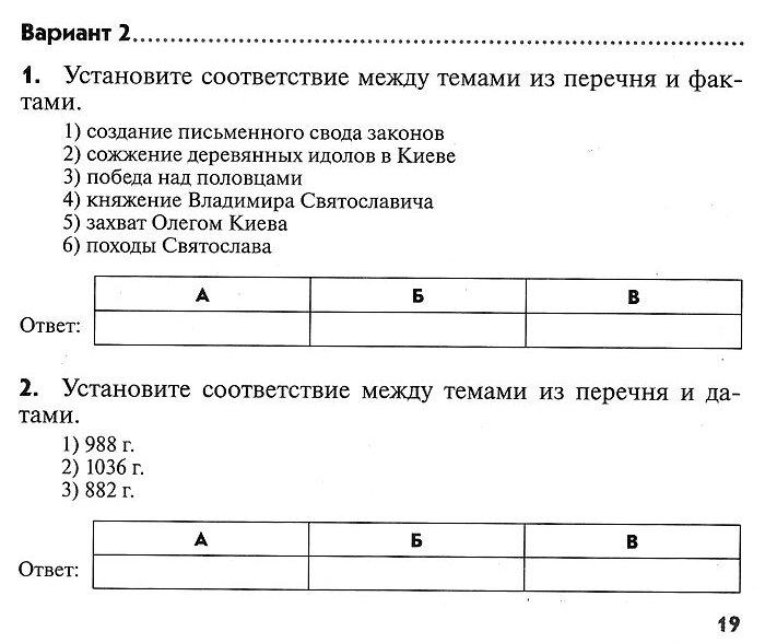 История России. Контрольная работа № 2