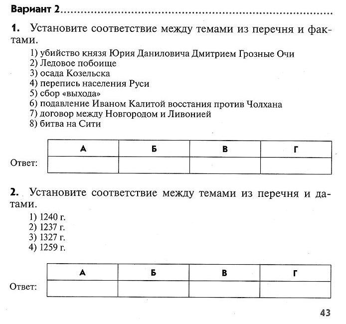 История России. Контрольная работа № 4